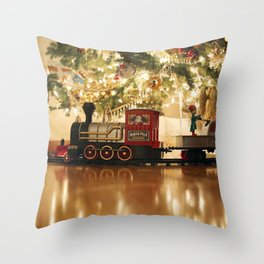Christmas Tree and Train Throw Pillow