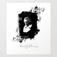 beethoven Art Prints featuring Beethoven by viva la revolucion