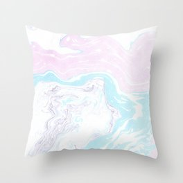 Colorful Waves Marbling Throw Pillow