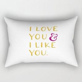 I love you & I like you -- Yellow Rectangular Pillow