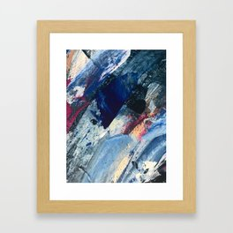 Flourish [1]: a vibrant abstract mixed-media piece in blues, magenta, and gold Framed Art Print