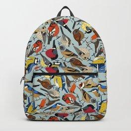 winter garden birds celadon blue Backpack