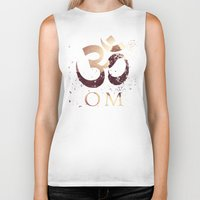 india Biker Tanks featuring Om India by Eva Nev