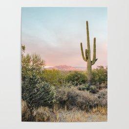 Desert Mountains Saguaro Cactus Blue & Pink Sunset Phoenix Arizona Poster