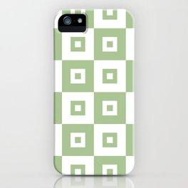 Retro Mid Century Modern Square Pattern Sage Green iPhone Case