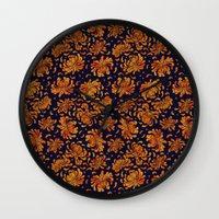 korean Wall Clocks featuring Korean Chrysanthemum - Orange by 1004kim
