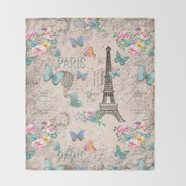 Paris - my love - France Nostalgy - pink French Vintage Throw Blanket