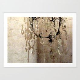 Vintage French Crystal Chandelier - I Art Print