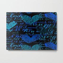 Kiss Me, Miss me Blue Metal Print