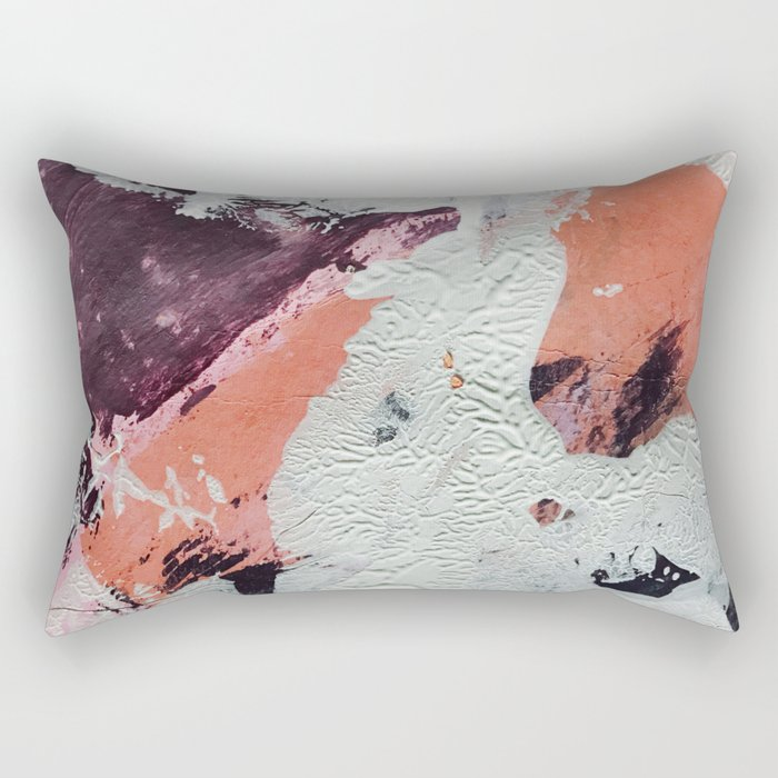 Taboo: a vibrant, abstract, mixed-media piece in purple, orange, and light blue Rectangular Pillow