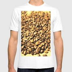 Coffee White Mens Fitted Tee MEDIUM