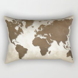 Design 64 World map brown sepia Rectangular Pillow