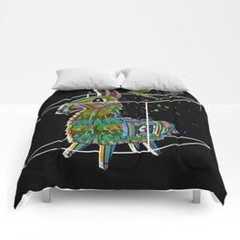 minimal black fortnitellama Comforters