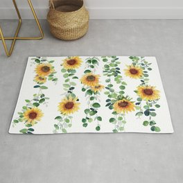 Eucalyptus and Sunflowers Garland  Rug