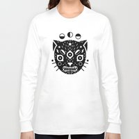 black cat Long Sleeve T-shirts featuring BLACK CAT by LordofMasks