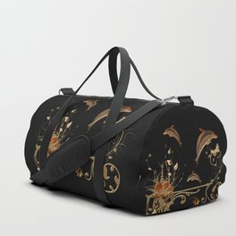 Funny dolphins with flowers Duffle Bag