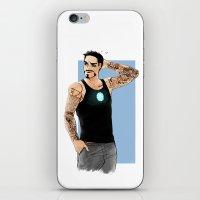 tony stark iPhone & iPod Skins featuring Tony Stark+Sleeve tats  by Krusca
