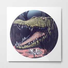 Crocodile Moon Metal Print