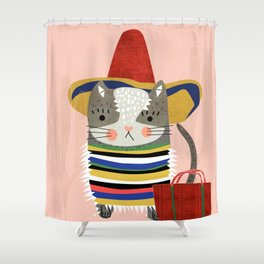 Travel Cat Shower Curtain