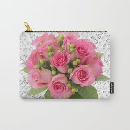Pink Rose Silver Mandala Carry-All Pouch