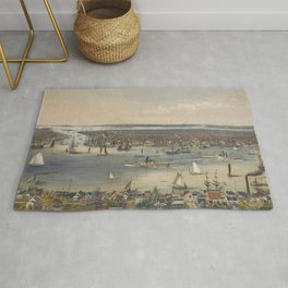 Vintage Pictorial Map of New York City (1848) Rug