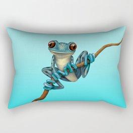 Cute Blue Tree Frog on a Branch Rectangular Pillow