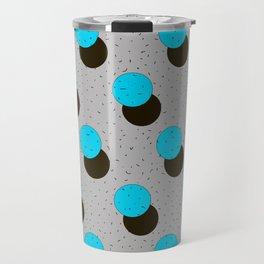 blue circles on a grey background Travel Mug