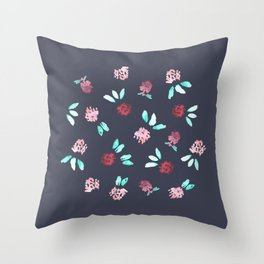 Clover Flowers on Grey Throw Pillow