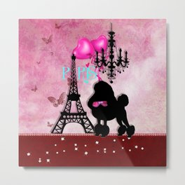 The Star | French Paris Girly Chic Poodle Eiffel Tower Damask Metal Print