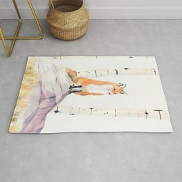 Fox and Birch Trees Rug