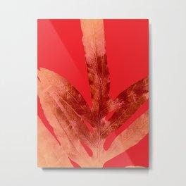 Fire Red Fern Metal Print