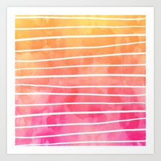 Modern pink yellow sunset watercolor ombre stripes pattern Art Print