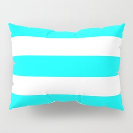 Electric cyan - solid color - white stripes pattern Pillow Sham