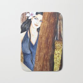 Girl in the forest Bath Mat