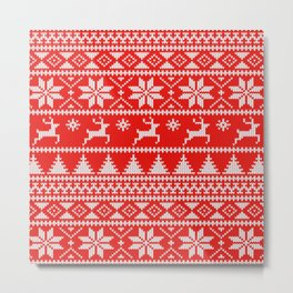 Fair Isle Christmas Metal Print