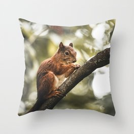 Squirrel Portrait in the Forest Throw Pillow