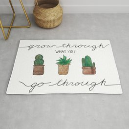 Grow Through What you Go Through; Potted Succulents Rug