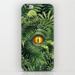 Watercolor dinosaur eye and prehistoric plants iPhone Skin