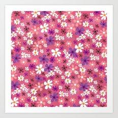 Retro Pink Flowers Art Print