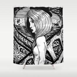 Escalator Girl Shower Curtain