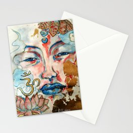 Buddah, lotus and OM Stationery Cards