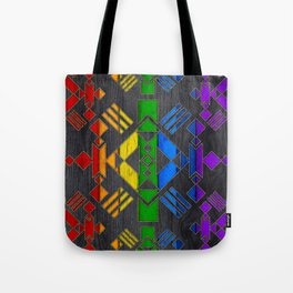 Colorful Geometric Wooden texture pattern Tote Bag