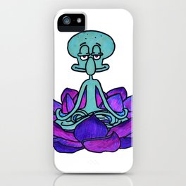 Squidward meditating in lotus flower iPhone Case