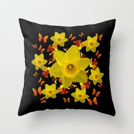 Decorative Black Design Butterflies Yellow Daffodils Throw Pillow