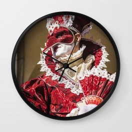 Red carnival mask in Venice Wall Clock