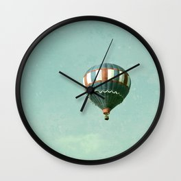 Vintage Red, White, and Blue Hot Air Balloon on Robin's Egg Blue Wall Clock