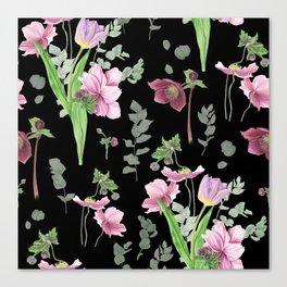 Spring flowers on black background Canvas Print