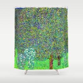 Gustav Klimt Rosebushes Under Trees Shower Curtain