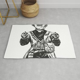 Wild cowboy skeleton - western skull cartoon Rug