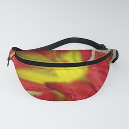 Large Abstract Flower in Red Fanny Pack